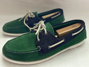 Made In Maine USA Rancourt For Jack Spade Boat Green Blue Suede Shoes 11.5 Men