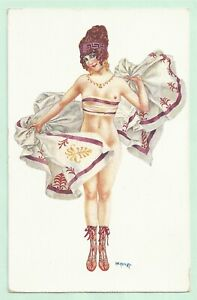 Rare old French risqué nude postcard artist signed Cheri Herouard 1920s pc #443