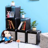 Multifunctional Assembled 3 Tiers 6 Compartments Storage Shelf Organizer Black