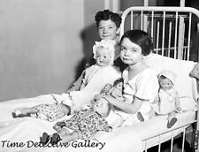 Children in Hospital Bed with Dolls - 1931 - Historic Photo Print