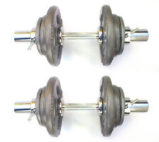 25KG Olympic Dumbbells 2 x 12½kg Set, Tri-Grip Iron Weight Disc Plates, Springs