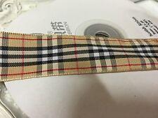 New 1 Metre Beige Tartan Print Grosgrain Ribbon Designer 22mm Cakes Bow Dummy