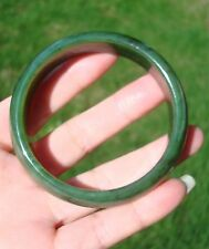 Canadian High Grade Green Nephrite Jade wide  Bangle Bracelet 60+ MM