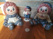 Raggedy Ann and Andy Collectable Figurine Ceramic Set Lot of 3
