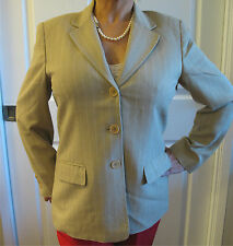 Women's Talbots Petites Beige Three Button Jacket Size 10P Rayon / Wool Blend