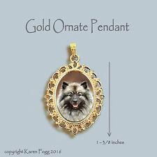 Keeshond Dog - Ornate Gold Pendant Necklace