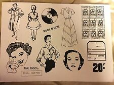 Vintage 1950's 60's Style. Set Of Unmounted Rubber Stamps.