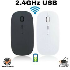 Mince Silencieux  2.4GHz USB Sans Fil Souris Optique Rechargeable Noir Blanc