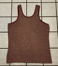Vintage Mens Tank Top Stretch Polyester Hippy Disco 1970s Red Burgundy New Sz Xl