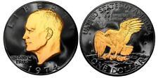 USA EISENHOWER IKE DOLLAR US COIN 24K GOLD BLACK RUTHENIUM 2 SIDED 1974