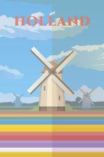 Holland Windmills Retro Travel Art Poster 12x18 inch