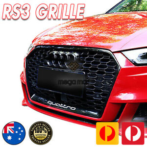 Grill Gloss Black Honeycomb RS3 Style Fits Audi A3 S3 8V 2016 - 2021 Exon