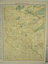 Antique 1929 Large Map Of MINNESOTA Collectible Frameable State Memorabilia