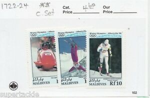 1992 Maldives Sc# 1722-24 ** MNH Albertville winter olympic postage stamps