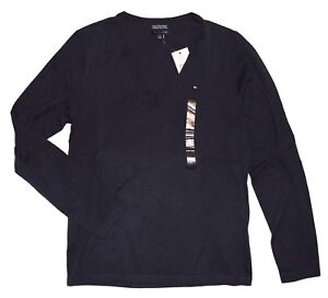 Tommy Hilfiger Womens Navy V Neck Pima Cotton Sweater size M New With Tags