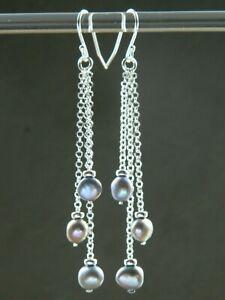 Pewter Grey Freshwater Pearls & 925 Sterling Silver Handmade Long Drop Earrings