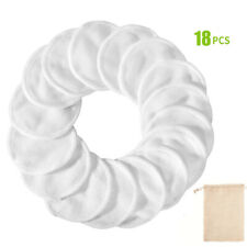18Pcs Bamboo Reusable Makeup Remover Pads Wipes Washable Facial Rounds Scrubbies