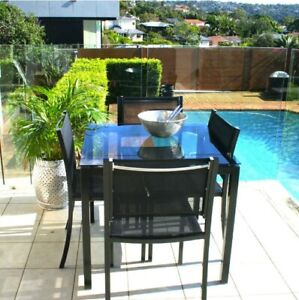 Outdoor Dining Set- Square Table & 4 Chairs -Black Aluminium - FOR SMALL SPACE