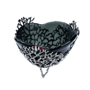 Pewter Bowl Tableware Coral with Fish & Glass Design Home Decor