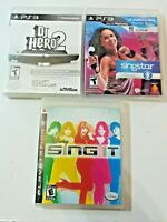 PS3 Lot of 3 Sing Dance Games Disney Sing It Singstar + Dance DJ Hero 2