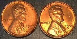 1947-S  1955-S UNCIRCULATED LINCOLN CENTS//FAST SHIPPING!