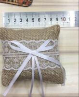 Rustic Wedding Bridal Burlap Ring Bearer Pillow Lace Bowknot Decoration