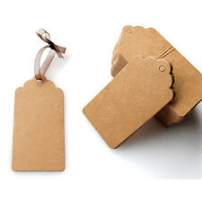 New 100Pcs Blank Brown Kraft Paper Hang Tags Wedding Favor Label Gift Card Craft