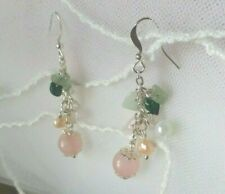 SPRING Cascade Earrings with Natural stone ROSE QUARTZ + PEARLS + MALACHITE  UK