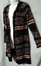 """Hooked Up by IOT Black Cardigan Sweater Jacket Lightweight Hooded Small 36"""" BUST"""