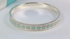 NEW Tiffany & Co. Blue Enamel Daisy Flower Bangle Small Silver Bracelet 925