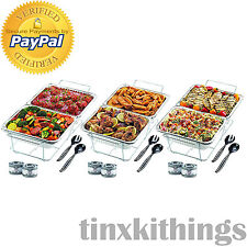 Disposable Party Set 24pc Aluminum Water Pan Food Serving Tray Warmer Wire Rack