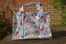 Gisela Graham Pink Purple Blue Flowers Floral Heart Oilcloth Hand Bag