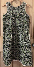 Vtg 60s 70s Black Flower Open Back Front Pocket Cotton Pinafore RARE Dress S