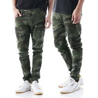 Mens Camo Jeans Stretch Slim Fit Skinny Denim Pants Military Fashion Casual