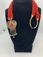 Heart  Czech Glass Seed Bead Multistrand Tassle Necklace Boho Tribal