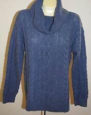 Ralph Lauren LRL Jeans Co Sweater L Blue NWT $99 Cable Knit Cowl Neck