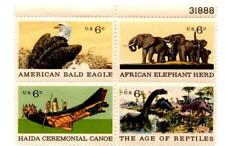 BLOCK OF (4) 6 CENT U.S. POSTAGE STAMPS NATURAL HISTORY 1970 ANIMALS WILDLIFE