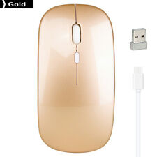M80 2.4GHz Wireless Mouse 1600 DPI Adjustable Rechargeable Mute Mice Gold