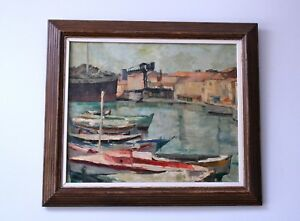 LARGE FRENCH OIL on CANVAS. HELEN CAROLI CASSIN. Harbour with crane.