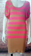 jumper dress hot pink tan brown new with tags xs