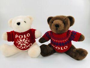 Polo Ralph Lauren Teddy Bears Red Sweater Snowflake White & Brown Plush Stuffed