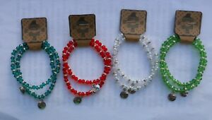 FACETED GLASS & METAL TONE SPACE BEAD STRETCH BRACELETS DREAM HOPE CHARMS (114)