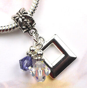 Crystal Square Dangle Charm Beads made with Swarovski Elements European Style