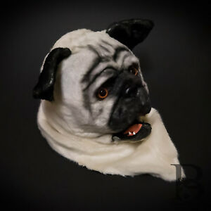 Over the Head White Dog Pug Costume Moving Mouth Masquerade Mask