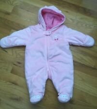 Carters Pink Owl plush Snow Suit Bunting 3 Months Super Soft!