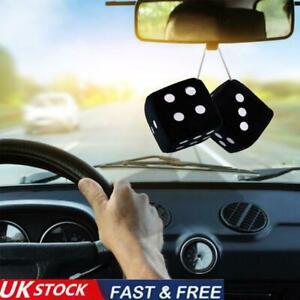 2x Fluffy Dice Black Car Mirror Novetly Accessory Decoration New G4Q8