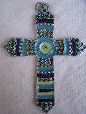 Fiesta Style Cross Pendant,silver pewter,enamel colors,glittery,CZ set-christian