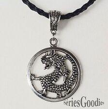 Bijoux Celtiques Gothiques Mediévaux pendentif dragon sur collier cordon tressé