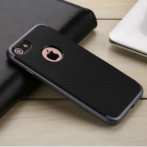 iPhone 7 Case Carbon Fiber Pattern, TPU Soft Bumper + PC Hard Frame 2 in 1