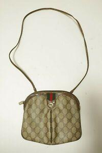 Authentic Vintage Gucci Canvas PVC Shoulder bag Crossbody Pouch #8978